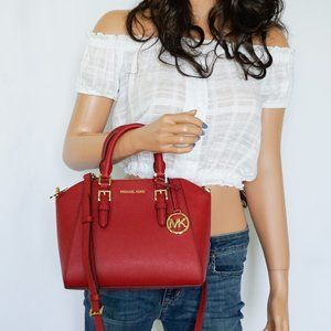 Michael Kors Ciara Messenger Leather Bag Red